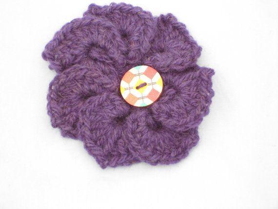 Crocodile Flower Brooch, Crochet Flower Brooch, Made In Denmark