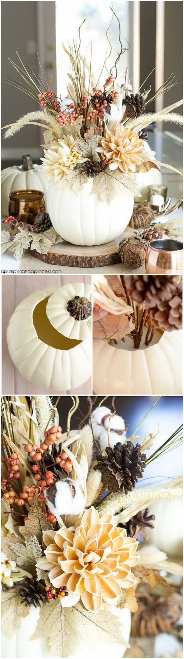 DIY Faux Pumpkin Vase. Grab a faux pumpkin from your local dollar store and learn how to turn it into a pretty fall vase like this one. An easy and inexpensive project to create a festive Fall centerpiece that will last throughout the season.