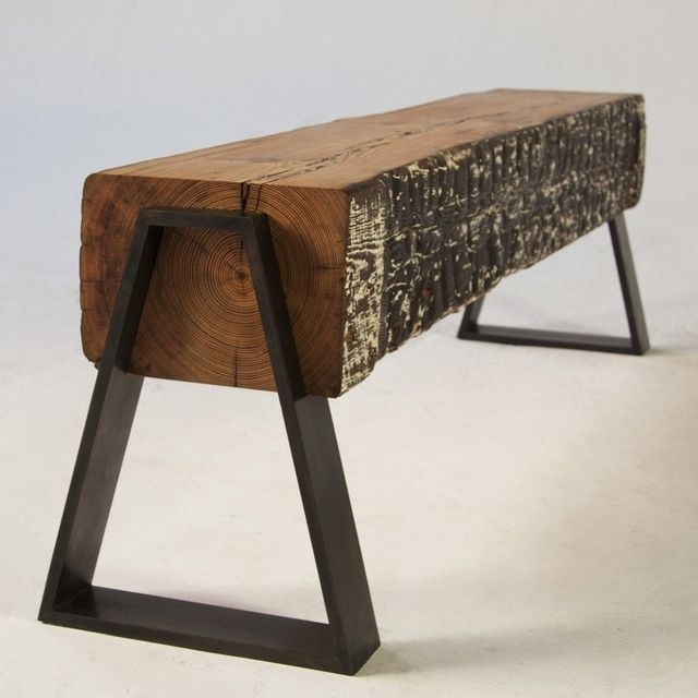 DOVETAIL BENCH Seating: Benches By Analog Modern, Available In Metal, Wood:  Blackened Steel Dovetail Shaped Legs Notched In A Reclaimed Long Leaf Pine  Beam.