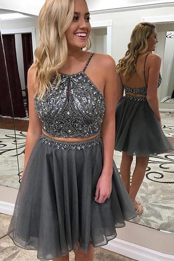 5f7d43608a29 Dark Grey Halter Beaded Two Piece Homecoming Dresses Short Prom Dresses,  MH369 Dark Grey Halter Beaded Two Piece Homecoming Dresses Short Prom  Dresses, ...