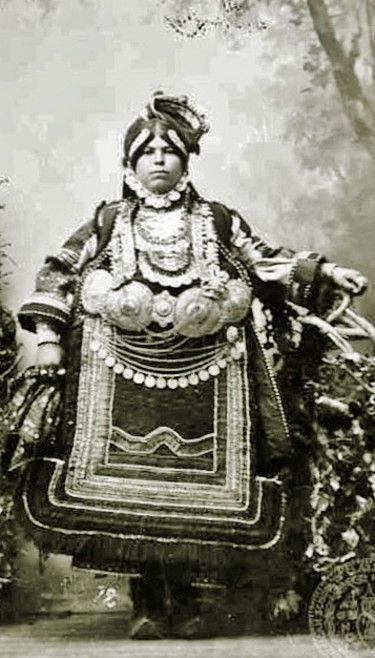 Traditional bridal costume from the village of Kalarites (Epirus, northern Greece). Rura dressl, late 19th century. (Ascsa Historical archives, Stefanos Dragoumis Collection)