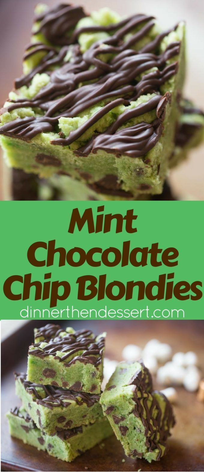 Mint Chocolate Chip Blondies that taste just like your favorite ice cream flavor in thick cookie bar form loaded with chocolate chips and a chocolate drizzle.