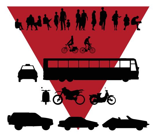 Hierarchy of the modes of transport that  people use. more and more people are taking public transport than of cars and motorcycles