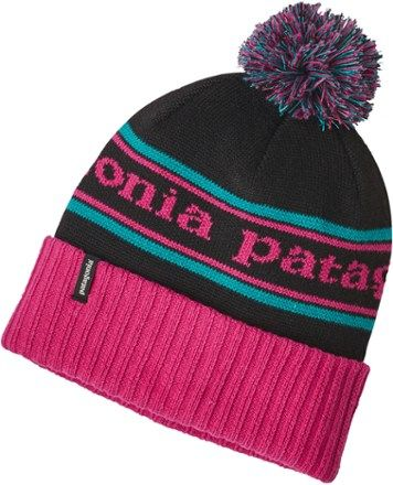 Patagonia Girl's Powder Town Beanie Craft Pink/Park Stripe