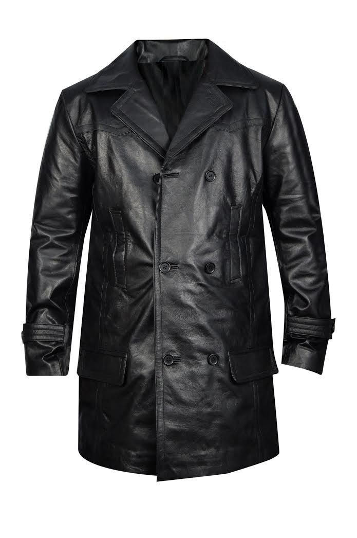 MENS GERMAN CLASSIC WW2 MILITARY OFFICER UNIFORM BLACK LEATHER TRENCH COAT