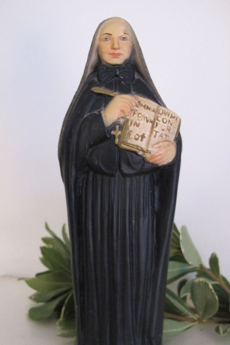 Antique Statue St. Francis Xavier Mother Cabrini Italian Figurine Chalkware Italy by ChezKathleen on Etsy