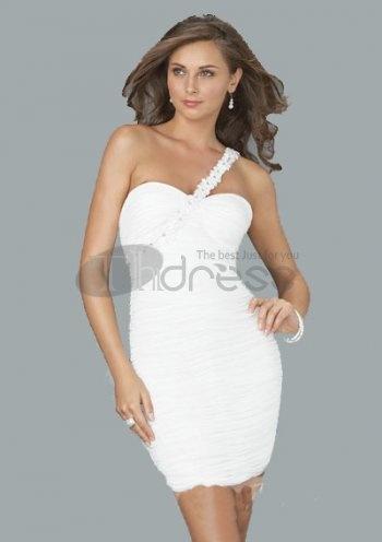 Short Evening Dresses / Fantastic Sheath One-Shoulder Short/Mini Chiffon Charmeuse Short Evening Dresses / http://www.thdress.com/Fantastic-Sheath-One-Shoulder-Short-Mini-Chiffon-Charmeuse-Short-Evening-Dresses-p698.html