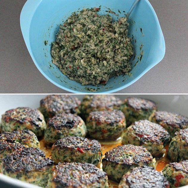 Fabelagtig og sund frikadellevariant med spinat og chili. Spis dem med det samme, eller frys dem ned, så du altid har noget lækkert lige ved hånden.