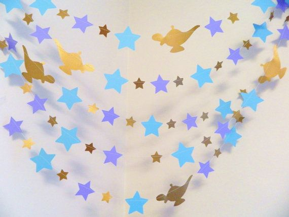 Princess Jasmine themed Birthday Decorations - 1st Birthday Decor - Princess Jasmine Party Decor- Star garland - Your length & color choice