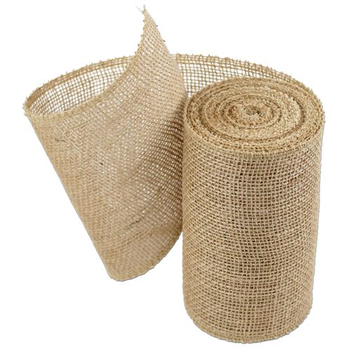 Beautiful natural burlap ribbon. 10 yards by 6 inches. Serged edges. Consider decorating your burlap with our beautiful selection of lace ribbon