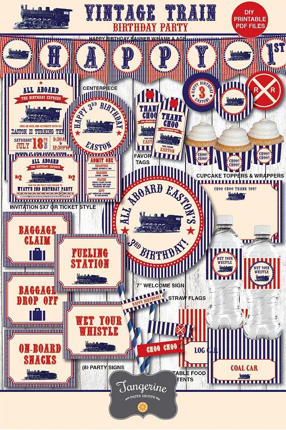 Train Birthday Decorations Party Ideas Vintage Boy Invitation