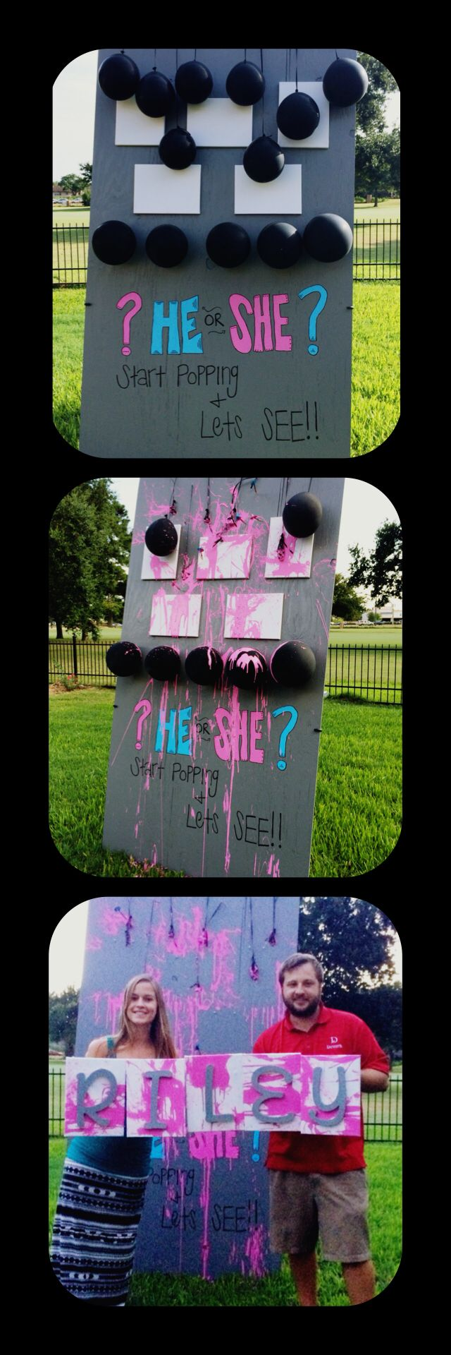 Gender reveal. Have your guest throw darts at paint filled balloons over canvas. Use the art in the baby room!
