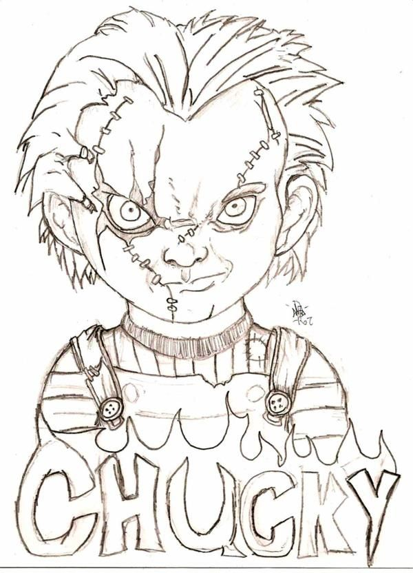 Chucky By Eyball On Deviantart Scary Drawings Creepy Drawings