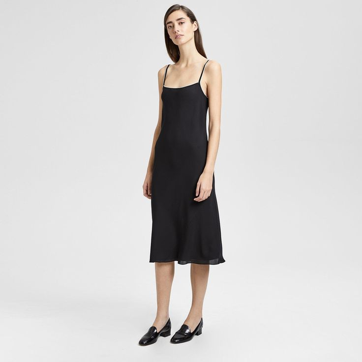 ba5663fbb9 Theory Silk Combo Slip Dress - Black Ivory S