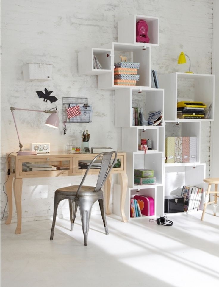 Boxed shelving make great storage areas for study essentials...