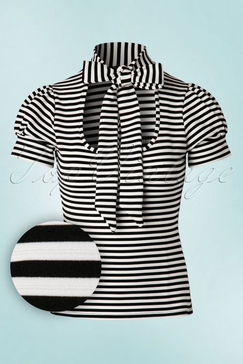 Vintage Chic - 50s Bonnie Stripes Top in Black and White