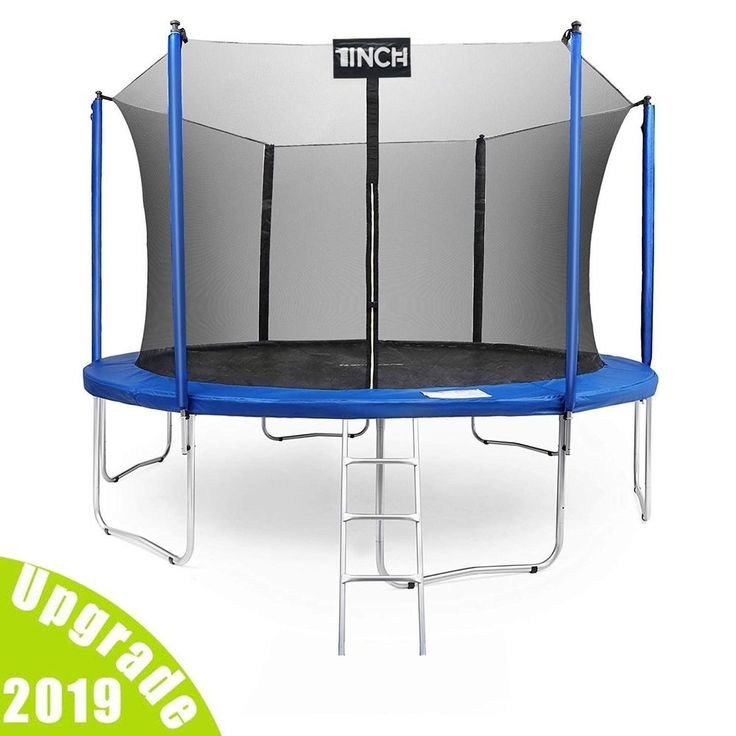 15 ft round trampoline with enclosure net w spring pad