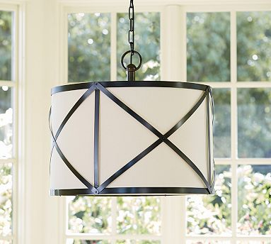 """Olsen Linen Drum Pendant #potterybarn.   What about this one?   The """"x"""" mimics the other Sausalito fixture."""