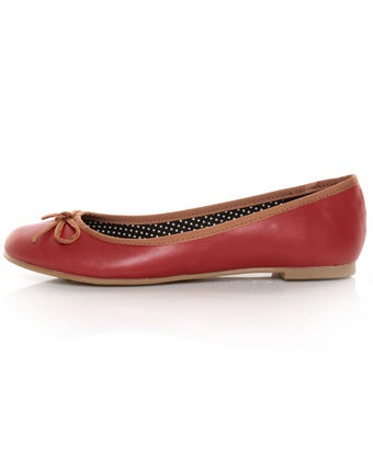 CL by Laundry Get Down Hudson Red and Tan Ballet Flats -- clinic appropriate