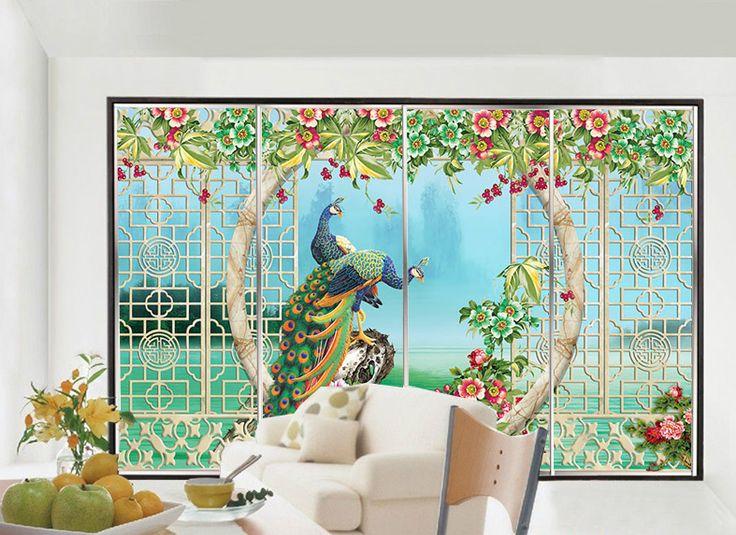 New G nstige Statisch haftenden selbstklebende dekorative fenster aufkleber d glas film kleiderschrank schiebet r pfau und blumen