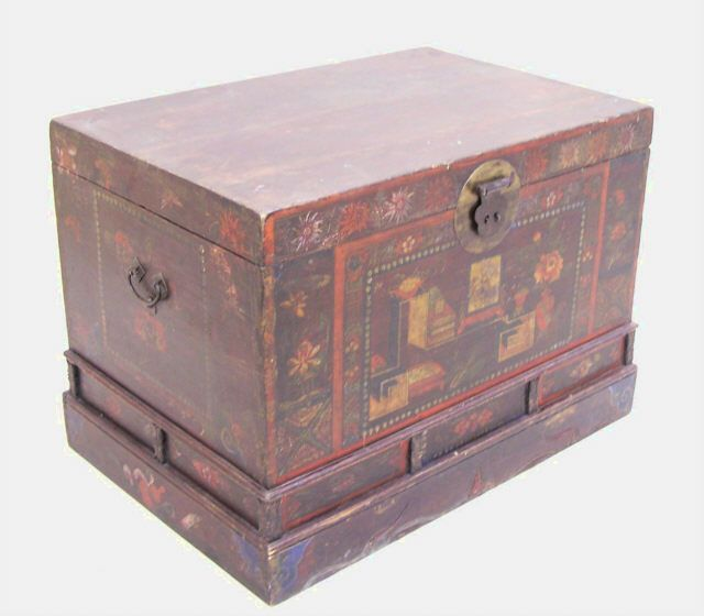 Antique Chinese Hand Painted Travel Storage Trunk C1800
