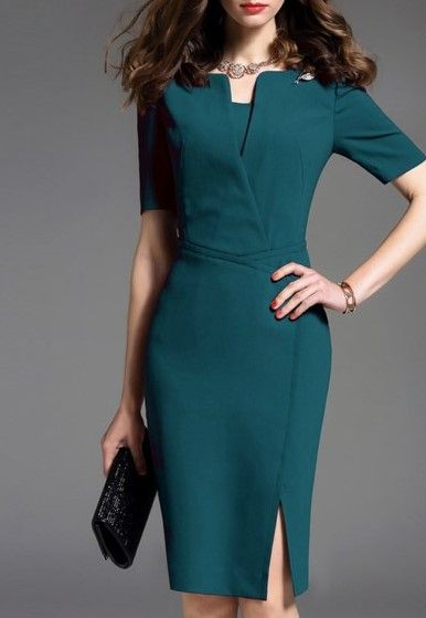 Split Square collar Short Sleeve Bodycon Dress 2