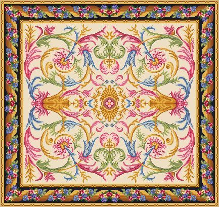Dollhouse Miniature Needlepoint Area Rug PARTIAL KIT Spanish Savonnerie 1/12th scale    1/12TH SCALE    THE PARTIAL KIT contains:    - pattern on