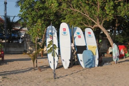 Surfboards for rent on Kuta beach, Bali;  Prima Ayu