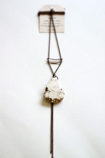 NATURAL- Raw white turquoise stone Necklace- antiqued copper chain, copper brass tubes. $39.00, via Etsy.