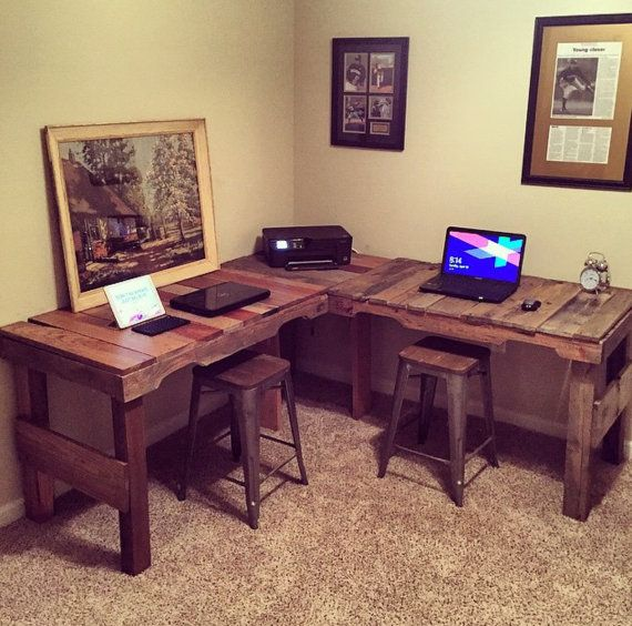 L-Shaped Desk Made from reclaimed pallets by WhiteLumber on Etsy you can purchase pallets at www.warehousecubed.com