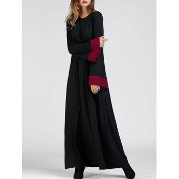 SHARE & Get it FREE | Color Block Bell Sleeve Maxi Arabic DressFor Fashion Lovers only:80,000+ Items·FREE SHIPPING Join Dresslily: Get YOUR $50 NOW!