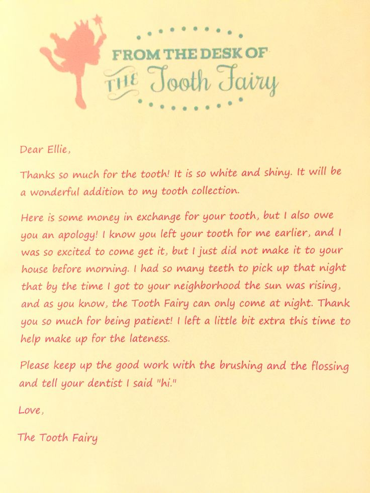 Whoops! The Tooth Fairy was a day late but left this ...