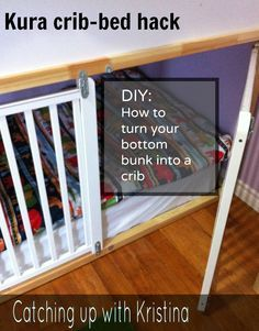 How to convert the lower portion of a Kura bunk bed into a latching crib.