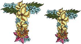 Exotic Flowers Font - Letter T