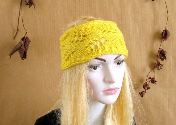 Lacefield Lace Knit Boho Headband -Yellow Frida Kahlo Hat
