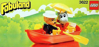 NEW-Lego-FABULAND-Harbor-3622-Rowboat-with-Lional-and-Hannah-Hippopotamus-Sealed
