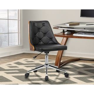 Shop for Armen Living Diamond Mid-Century Office Chair in Chrome finish with Tufted Black Faux Leather and Walnut Veneer Back. Get free shipping at Overstock.com - Your Online Furniture Outlet Store! Get 5% in rewards with Club O! - 22688732
