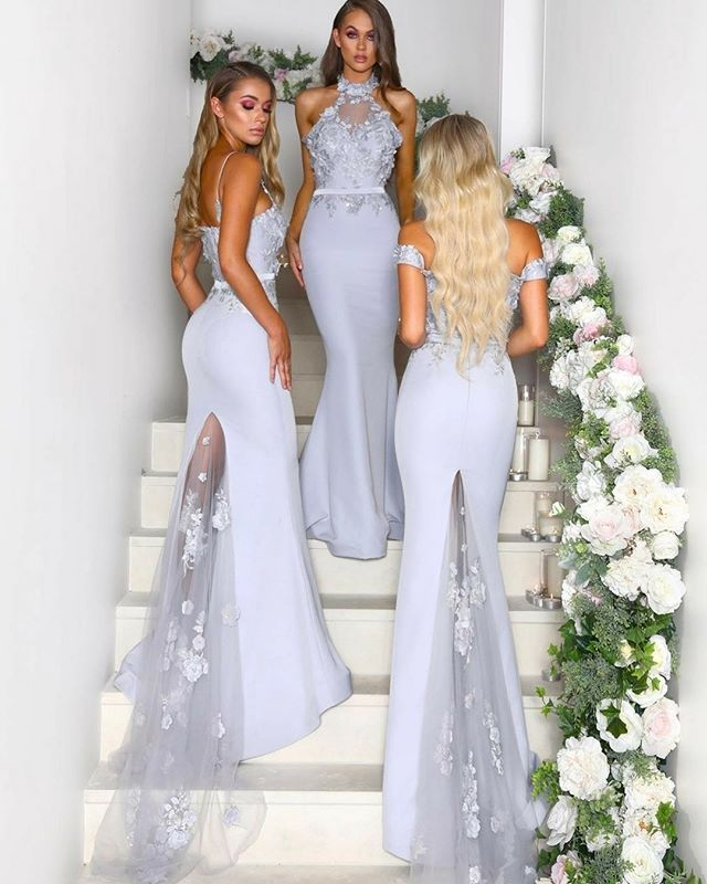 ceb18c1d682 Charming Mermaid Halter Grey Lace Long Bridesmaid Dresses with Train ...