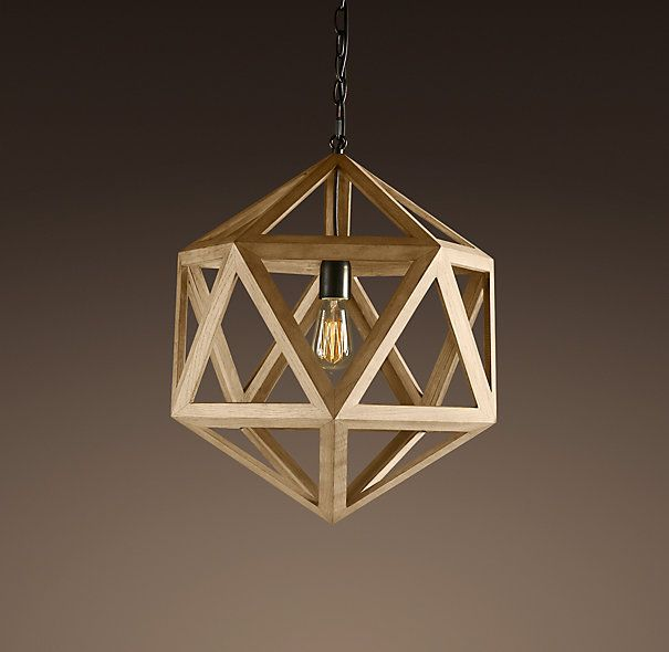 """WOOD POLYHEDRON PENDANT SMALL $395 FINAL SALE $119.99 Classic triangular forms create the beautiful symmetry of our openwork pendant. Constructed of natural oak. DIMENSIONS 16½"""" diam., 19¾""""H"""