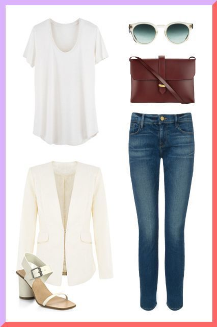 3 Ways To Wear A Basic White Tee: Hollywood Edition #refinery29  http://www.refinery29.com/white-tee-casual-outfits#slide-4  Who knew a white tee can be proper enough for a business meeting? We call it Reese-ifying your look: taking our item du jour and making it look like a million bucks. A tee might be inherently casual, but the addition of a sophisticated blazer, a polished satchel, and high-heeled sandals spiffs it up in no time. We particularly love how she color-coordinated her…
