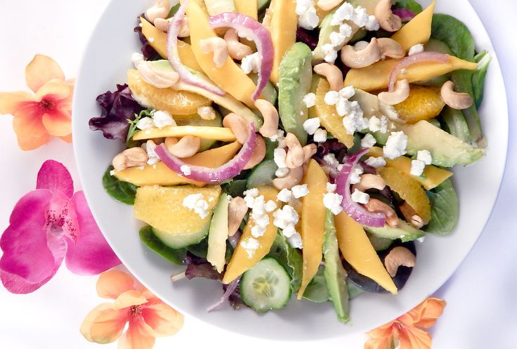 Taste the tropics with this Mango Avocado Salad! #tropical #evoo #balsamic #mango #avocado #salad #whitebalsamic #food #dinner #olivtastingroom #oliveoil #healthy #healthyfood