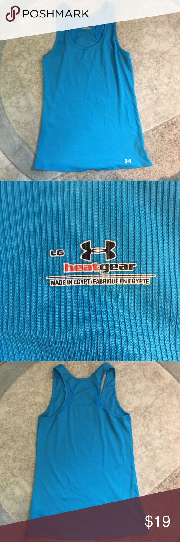 Uber Armour Blue Tank Top - Heat Gear Description: Under Armour Blue Tank Top. Heat Gear. Good condition.  Note to customer:  Happy to share more pics if needed prior to your purchase. Contact me with any questions.  No Trades No Low Offers Please  Refund Policy: No refunds. Under Armour Tops Tank Tops