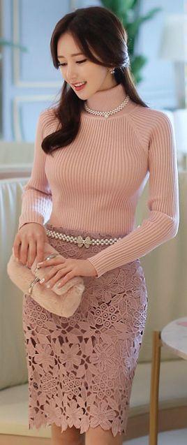 StyleOnme_Floral Crochet Lace Pencil Skirt #pastel #pink #feminine #lace #floral #seethrough #pencilskirt #girlish #elegant #classy #datelook #formal #koreanfashion #kstyle #seoul #kfashion #skirt #pretty