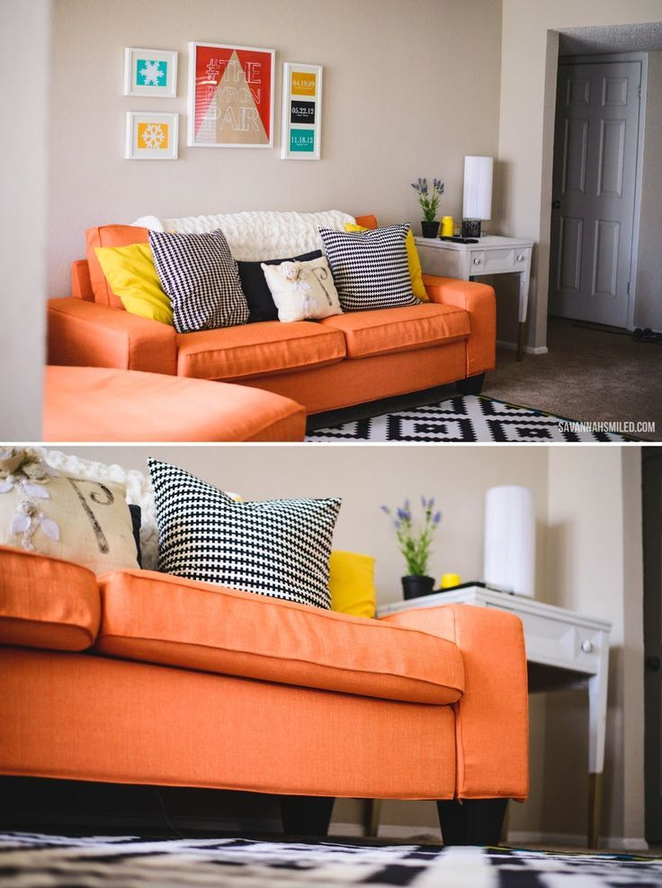 Elegant Home Living Room, Living Room Ideas, Living Spaces, Media Rooms, Ikea  Orange Couch, Ikea Couch, Ikea Sofa Covers, Brown Sofas, Future Office