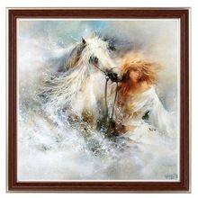 Рукоделие, СДЕЛАЙ САМ 14CT без надписей вышивки крестом Вышивка Фантазия Лошадь и Девушка Счетный Белый холст Крест-ручной(China (Mainland))