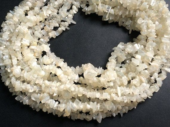 WHOLESALE 5 Strands White Moonstone Chips White by gemsforjewels