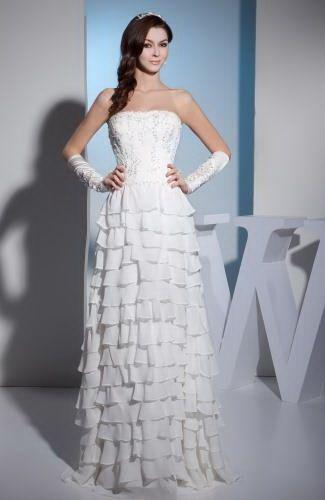 Strapless Chiffon Wedding Gown - Order Link: http://www.thebridalgowns.com/strapless-chiffon-wedding-gown-tbg2279 - SILHOUETTE: Sheath/Column; SLEEVE: Sleeveless; LENGTH: Floor Length; FABRIC: Chiffon; EMBELLISHMENTS: Tiered , Edging , Beading - Price: 231.99USD