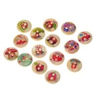 100 Nature Wood Šicí Tlačítka Scrapbooking 2 otvory Smíšené dům Pattern 15mm DIY šperky Zjištění (W04509 X 1)