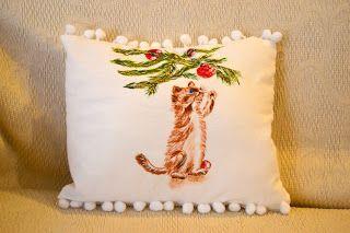 Dipingere su Tessuto:  Gattino, dispettoso.  ...