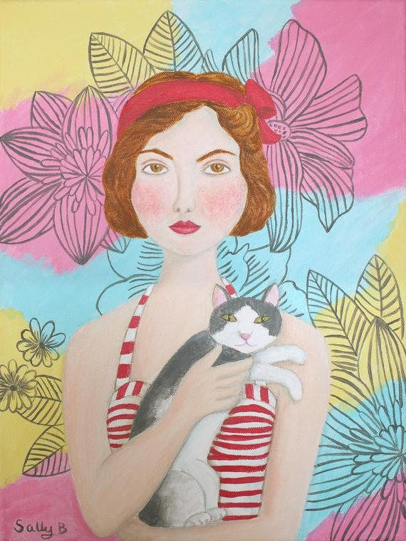 Folk Art Portrait Flapper Girl Holding Cat Wall Art Print